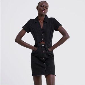 NWT Zara Black Denim Dress with Buttons Size Small